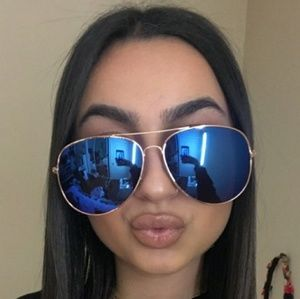 Accessories - Large Over size Aviator sunglasses MirrorBlue lens